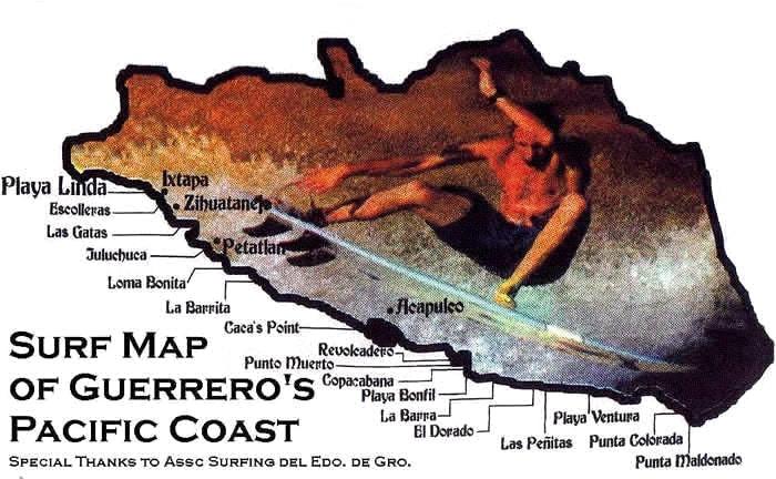 Surf Map ofGuerrero